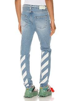 OFF-WHITE Diagonal Stripe Slim Jeans