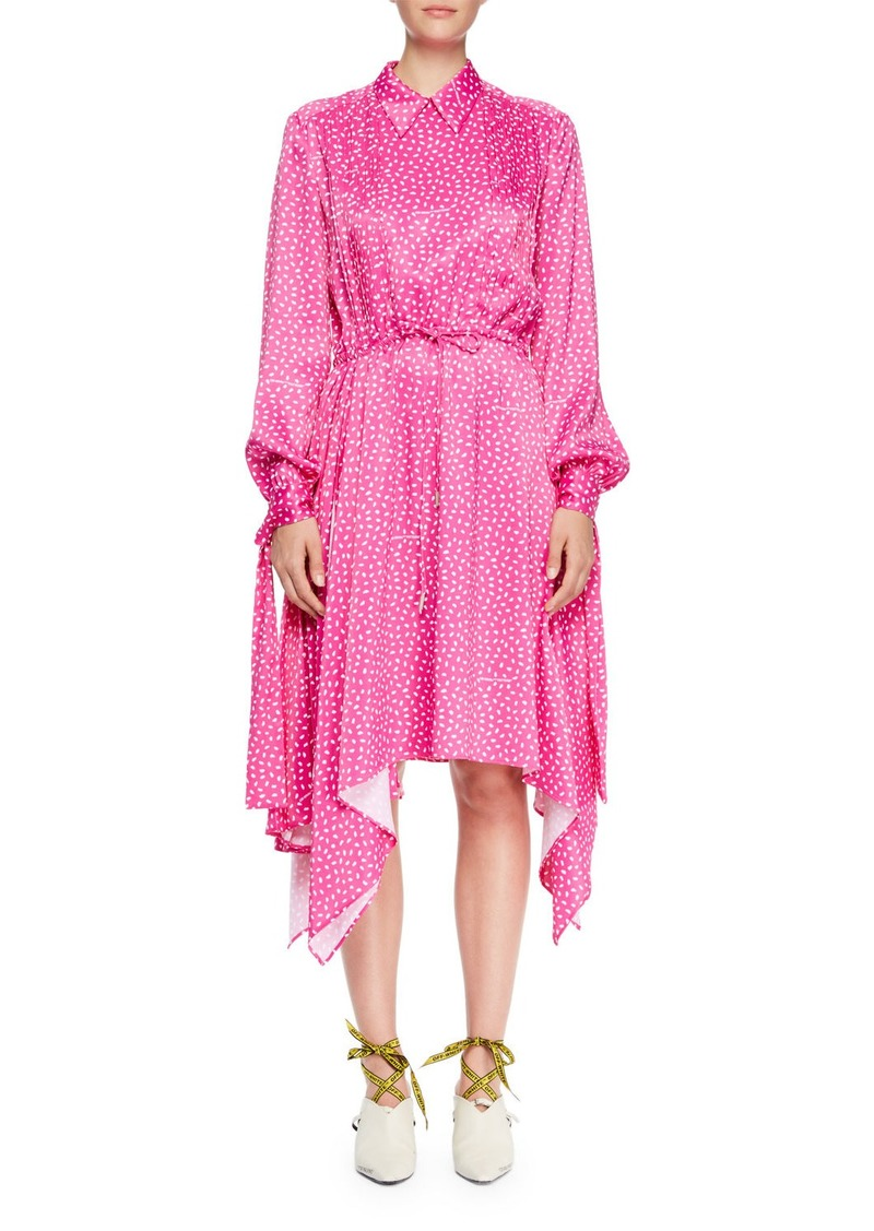 Off-White Dot-Print Drawstring Satin Dress with Hanky Hem