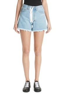 Off-White Embroidered Cutoff Denim Shorts (Medium Blue)
