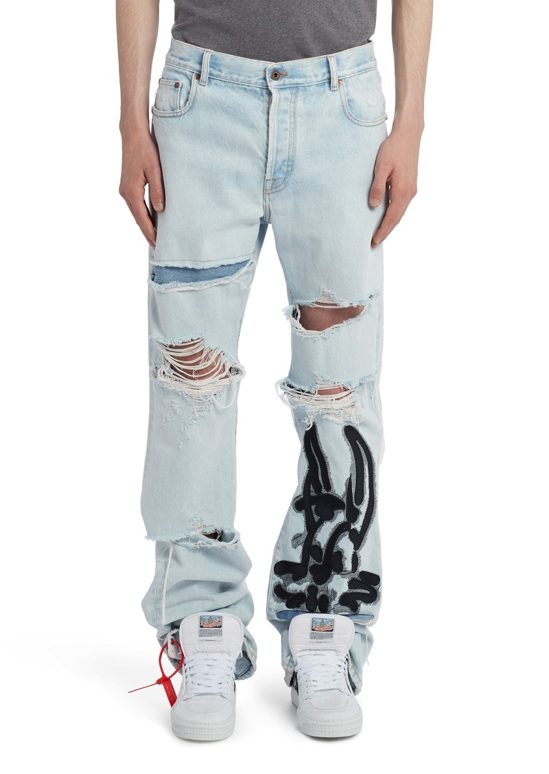 Off-White EV Ripped Low Fit Jeans