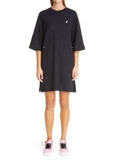 Off-White Flocked Floral Arrows Coulisse T-Shirt Dress