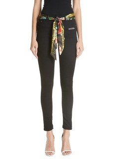 Off-White Floral Belt Skinny Jeans (Vintage Black)