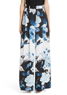 Off-White Floral Wide Leg Silk Pants