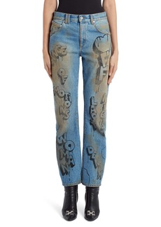 Off-White Graffiti Baggy Wide Leg Jeans (Bleach Black)
