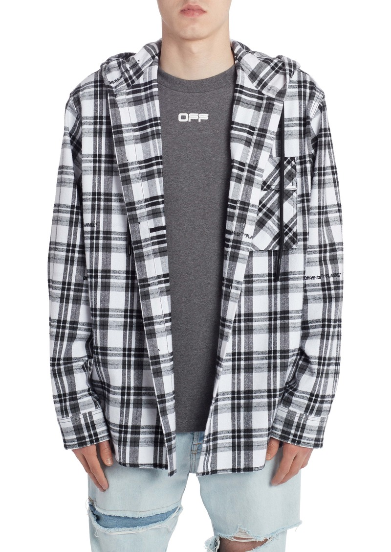 Off-White Hooded Check Flannel Button-Up Shirt