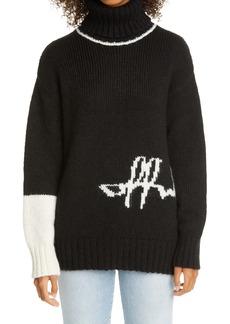 Off-White Intarsia Script Logo Alpaca Blend Turtleneck Sweater