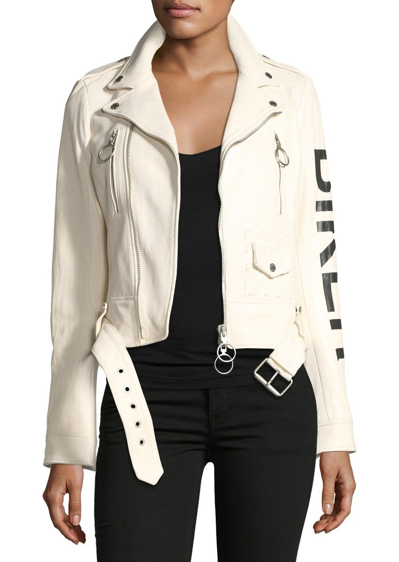 arrives cheapest sale cute cheap Off-White Leather Biker Jacket with Graphic