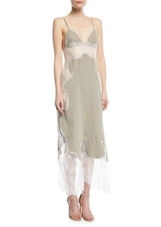 Off-White Linen Lace Slip Dress