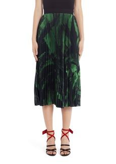 Off-White Logo Brushstroke Pleated Silk Midi Skirt