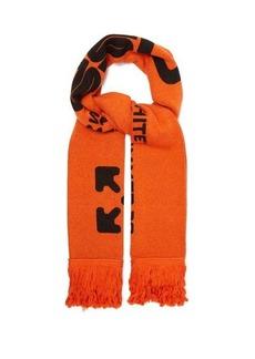 Off-White Logo-intarsia fringed scarf
