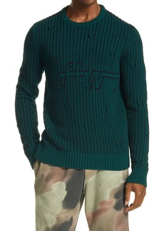 Off-White Logo Jacquard Wool Blend Men's Sweater