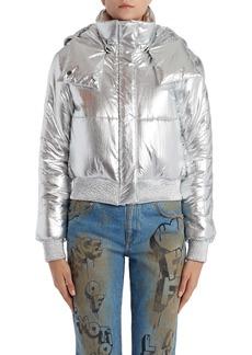 Off-White Logo Metallic Puffer Jacket