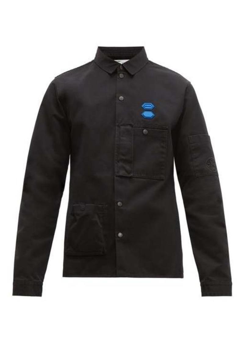 Off-White Logo-plaque cotton-twill shirt