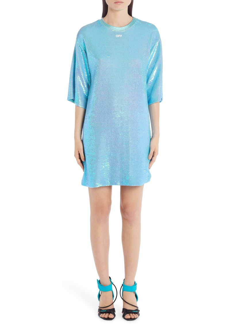 Off-White Logo Sequin T-Shirt Dress
