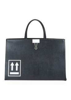 Off-White Medium Leather Box Tote Bag