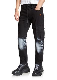 Off-White Men's Denim Pants with Bleached Knees & Diagonal Stripes