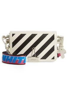 Off-White Mini Diagonal Stripe Saffiano Leather Crossbody Bag - White