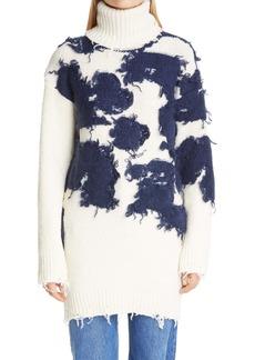Off-White Moo Distressed Intarsia Turtleneck Sweater