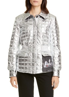Off-White Painting Gathered Waist Metallic Quilted Jacket