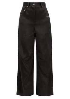 Off-White Patch-pocket satin wide-leg trousers