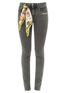 Off-White Printed-scarf skinny jeans