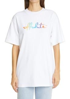Off-White Rainbow Script Logo Cotton Graphic Tee