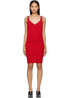 Off-White Red Bold Logo Bodycon Dress