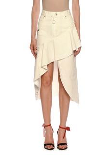 Off-White Ruffled Denim High-Low Denim Skirt