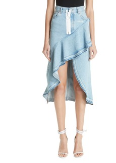 Off-White Ruffled Denim Skirt (Medium Blue)