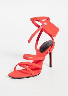 Off-White Satin Ziptie Sandals