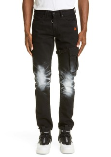 Off-White Slim Fit Asymmetrical Cargo Jeans (Black Fuchsia)