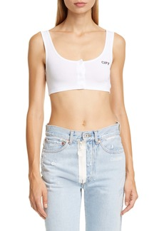 Off-White Snap Front Crop Tank