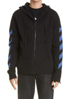 Off-White Stripe Knit Zip Hoodie