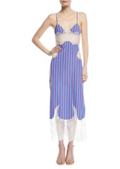 Off white off white striped cotton and lace slip dress abvca984d14 a