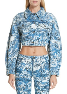 Off-White Tapestry Print Crop Denim Jacket