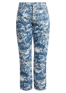 Off-White Tapestry-print cropped jeans