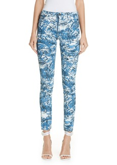 Off-White Tapestry Print Skinny Jeans (Medium Blue)