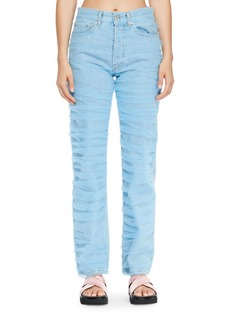 Off-White Tulle-Trim Denim Jeans