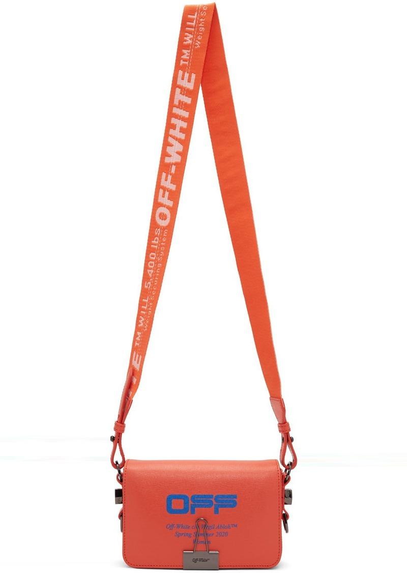 Off-White Orange Wavy Logo Mini Flap Bag