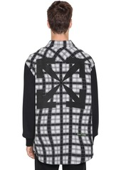 Off-White Over Contrast Sleeve Check Cotton Shirt