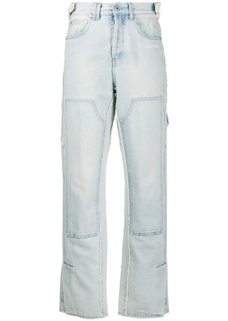 Off-White patch detail straight jeans