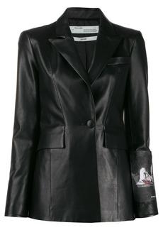 Off-White patch print leather blazer