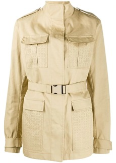 Off-White perforated short trench coat