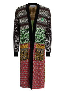 Off-White Persian Fantasy Open-Front Long Cardigan