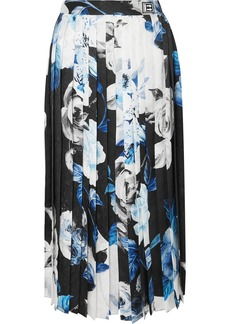 Off-White Pleated Floral-print Silk-moire Culottes