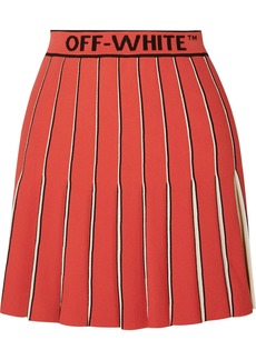 Off-White Pleated Knitted Mini Skirt