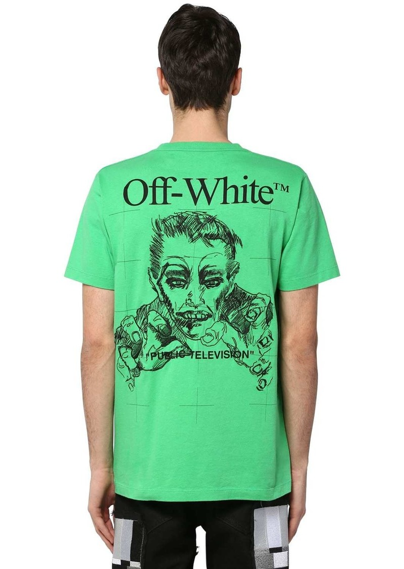 Off-White Printed & Embroidered Cotton T-shirt
