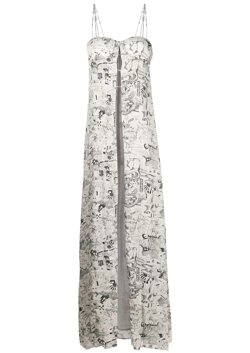 Off-White printed crepe long dress