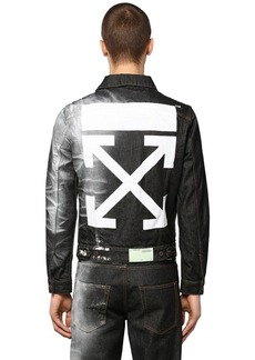 Off-White Printed Slim Cotton Denim Jacket