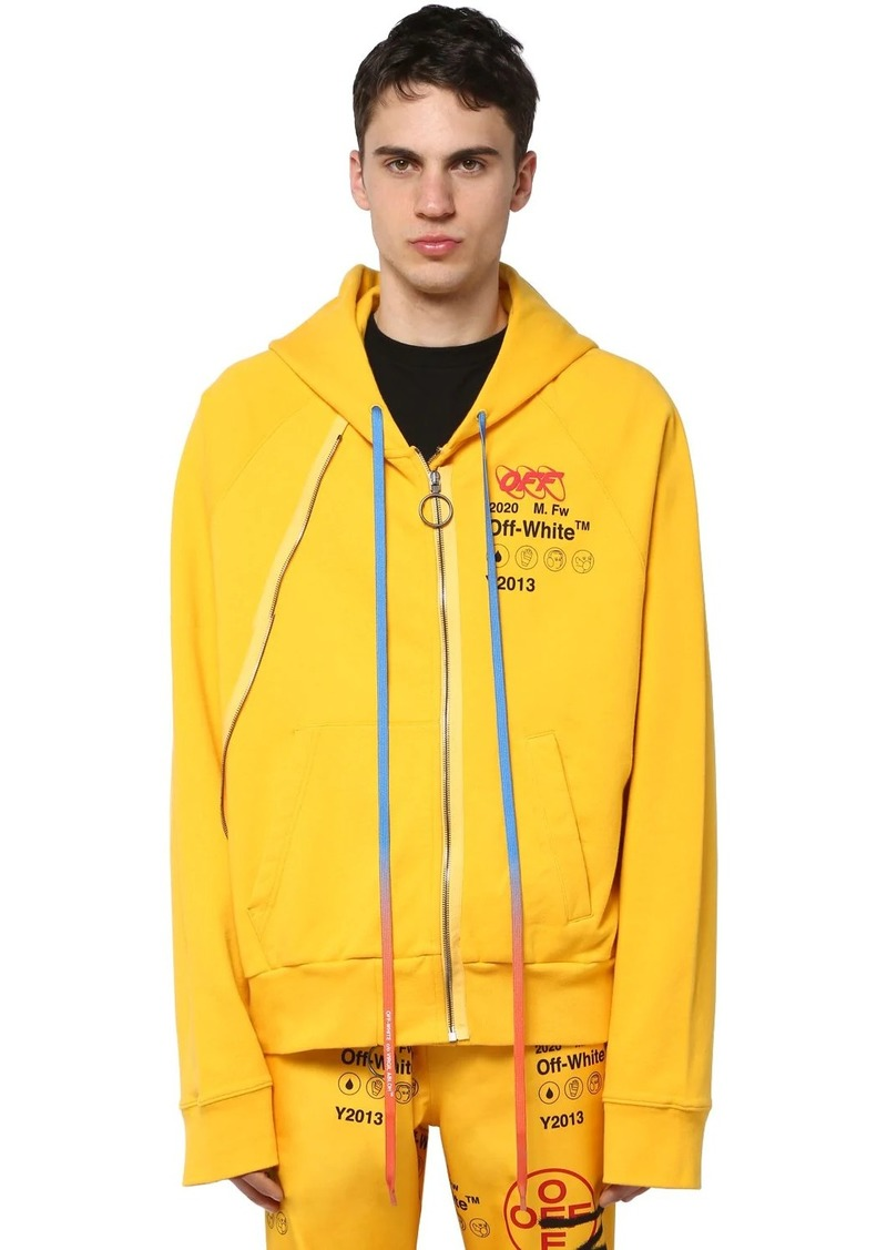 Off-White Printed Zip-up Cotton Jersey Hoodie